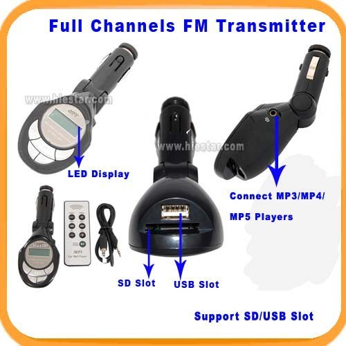 Free Shipping car MP3 player FM Transmitter with SD/USB slots/Full Chanel/LED Display Full chanel car fm transmitter(China (Mainland))