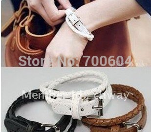 10pcs/lot, 2013 Hot Sale! New Fashion Weaved Leather Double Wrap Buckle Bracelet, wholesale, XSS002