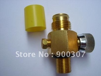 "Valve with on/off  for paintball accessories fit most of tanks with threads 5/8""-18UNF,Output threads G1/2-14"