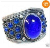 Tribal Jewelry Tibet Blue Jade Cuff Bracelet
