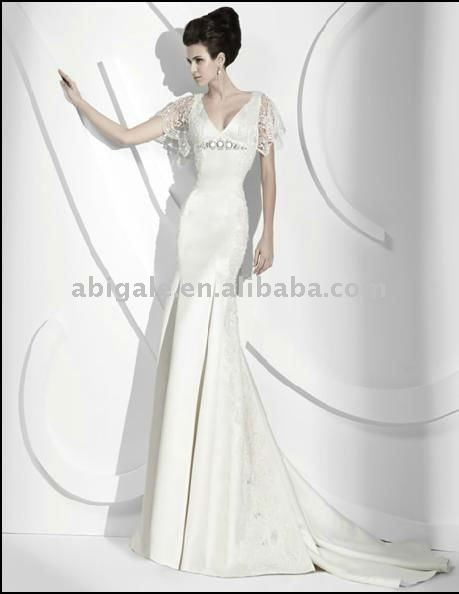 2011 New Style V-neckline Mermaid Satin Sweep Train Bride Dress(China (Mainland))