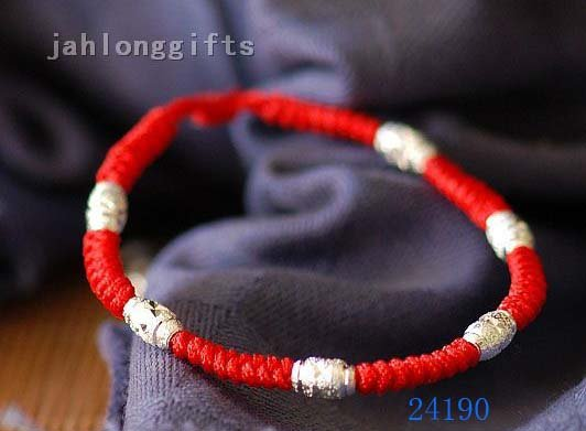 New Arrival Red String Bracelet with 925 Silver Decor Ladies Silver Jewelry 20pcs Mixed Lot Free Shipping(China (Mainland))