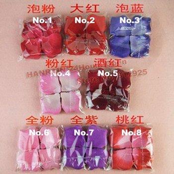 Hot sale 1152pcs/lot nice 8 colors heart silk rose petals wedding petals favors+china post Free shipping