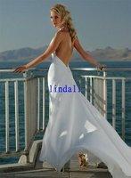 Wholesale Sand beach V-neck white  wedding dress long train free shipping