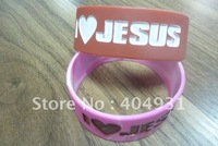 New Design Embossed and Debossed 1 inch Wide Silicone Bracelets with Jesus Logo