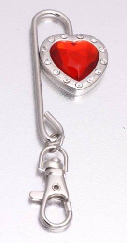 Hot sale Charm Heart Crystal Steel Purse Hook/Bag hanger Key Finder 40pcs/lot+Fulfillment shipping(China (Mainland))