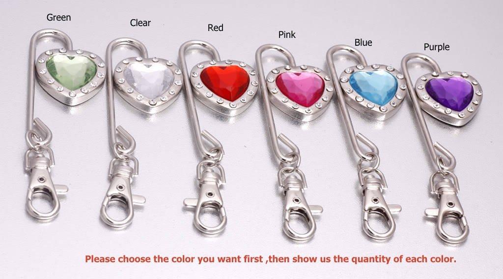 DHL/EMS Free shipping Charm Heart Crystal Steel Purse Hook/Bag hanger Key Finder 40pcs/lot(China (Mainland))