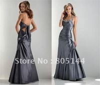 new simple style gray plain taffeta Sheath/Column sleveeless popular Evening Dresses