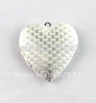 FREE SHIPPING 20PCS Silver Plate Pattern Heart Locket Pendant 42x40mm #20401