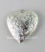 FREE SHIPPING 20PCS Silver Plate Floral Heart Locket Pendant 42x40mm #20402