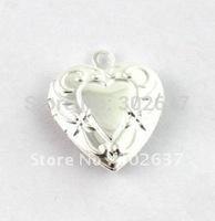 FREE SHIPPING 50PCS Floral Heart SP Locket Pendant 20mm #20408