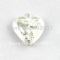 FREE SHIPPING 50PCS Double Heart SP Locket Pendant 20mm #20409