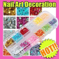 Fast & Free Shipping 5 sets x 12 colors practical nail art star decoration tips new S134