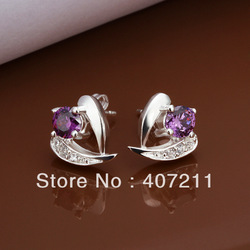 1pcs 925 Sterling Silver CZ Earrings,Drop Earrings,Wholesale jewelery.silver pendant,FreeshippingE173(China (Mainland))