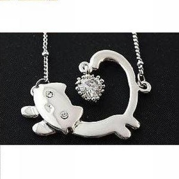 Cute Korean Fashion White Onyx Cat Necklace Pendant Whosale/retail