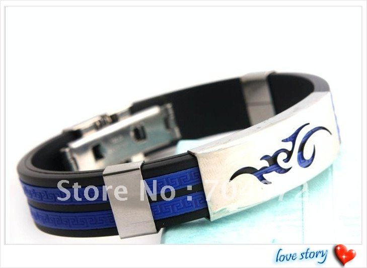 wholesale 2pcs/lot Free shipping simple design bracelet jewelry men&#39;s fashion accessary stainless steel + silicone bracelet(China (Mainland))