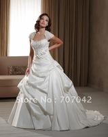 Free shipping custom-made Taffeta and Alencon Lace Wedding dress W003