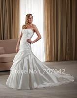 Free shipping custom-made Organdy Taffeta Strapless Wedding dress W004