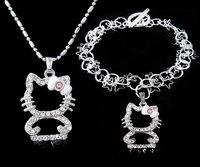 2012 NEW Jewelry sets, Fashion Hello kitty pendant Necklace fashion fine Bracelet jewelry sets, T200  (Minimum Order is $15)