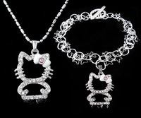 2012 NEW Jewelry sets, Fashion Hello kitty pendant Necklace fashion fine Bracelet jewelry sets, T200  (Minimum Order is $15)