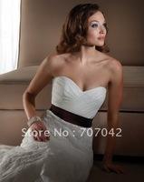 Free shipping custom-made Organza Taffeta semi-cathedral train Wedding dress W005