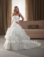 Free shipping Romantic custom-made Satin Organza Wedding dress W006