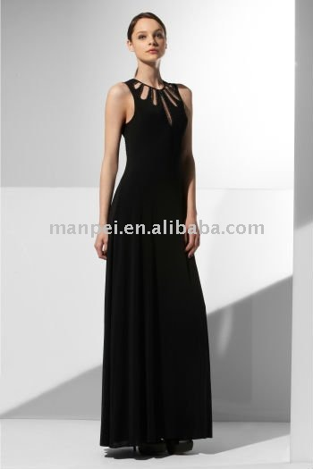 gorgeous black beaded chiffon evening gown long prom dresses,MPP-401(China (Mainland))
