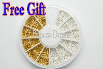 Wholesale - - 10 Pcs Lot Golden Silver Steel Bean Bead 0.9 mm Mini Ball Wheel Nail Art 3D Tip Decorati+FREE GIFT+FREE SHIP