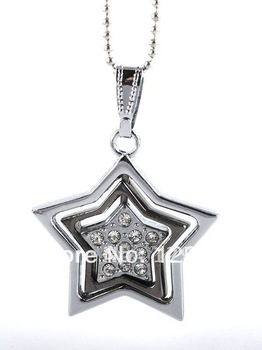 free shipping fashion star shape Gun Black color stainless steel necklace pendant