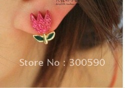 New arrival !! fashion Full imitation diamond rose flowers stud earrings .36pair /lot.Free shipping(China (Mainland))