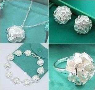 GSSPS0296/Free Shipping,wholesale silver jewelry set,flower jewelry,high quality,Nickle free antiallergic, factory price(China (Mainland))
