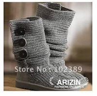 women's Tall Cardy Snow Winter Knit sheepskin boots in grey,free shipping wholesale