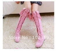free shipping women's Chalaza lacing tassel high boots pink