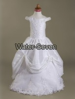 Ball Gown Off-the-shoulder Floor-length Taffeta Lace Flower Girl Dresses