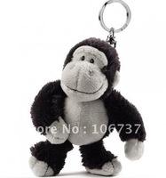 "Free shipping NEW KEY CHAIN NICI Dark gray orangutan/Apes Key Chain Stuffed 4.5""NEW"