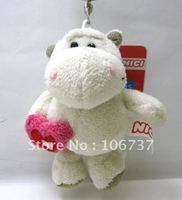 "NICI Holding Red Heart White hippo Key Chain Stuffed 4.5""NEW"