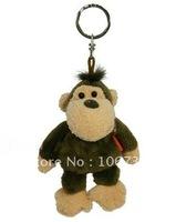 "NICI Brown jungle Monkey key Chain Stuffed toy 4.5""NEW"