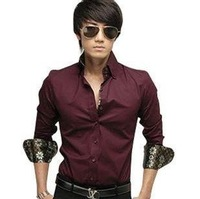 Wholesale Male long-sleeved shirt Slim Korean features collar man's shirt 942