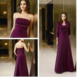 Elegant Chic A-line Strapless beaded waistband Taffeta Floor-length Empire Bridal Dresses(China (Mainland))