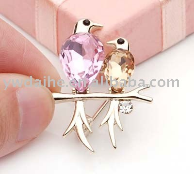 free shipping fashion two birds shape pink and orange zircon brooch 001821(China (Mainland))