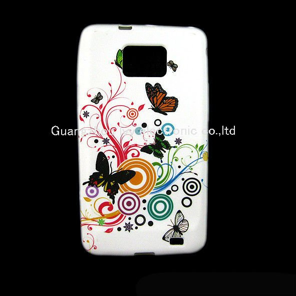 Flower Silicone GEL Case Cover Skin for Samsung I9100 Galaxy S2 S 2 100pcs free shipping Hot selling(China (Mainland))