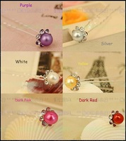 HP005-Several colors Fashion design sun flower hair pin girl hair pins little imitation pearl rhinestone hair pin