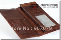 Leather purse male style man long style purse positive article head layer leather money clip male type wallet