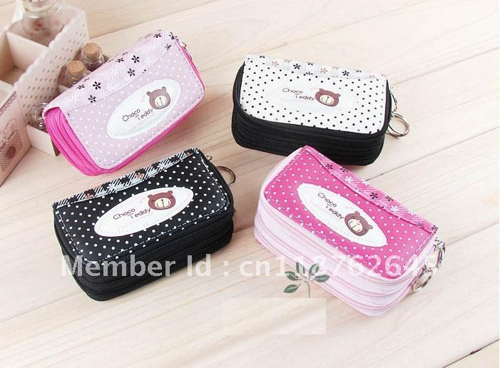 Free shipping! Wholesales chocolate bear wallet,cartoon wallet, coin purse, mobile phone case 12pcs/lot(China (Mainland))