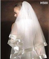 Free Shipping     white and ivory   wedding veil    Satin Corded Edge Bridal Veils