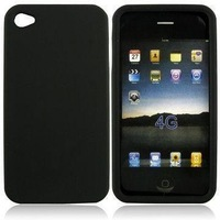 Wholesale 40pcs/lot Black Silicone Skin Case for I phone 4G OR 4 +shipping discount