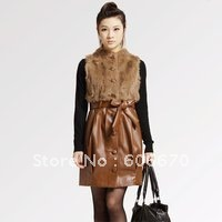 Free Shipping Spring New Arrival Women&#39;s Dress Rabbit Fur PU Leather Vest Sleeveless Mini Dresses Wholesales PM1117(China (Mainland))