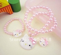 Sweet Hello Kitty jewelry set, children jewelry set( necklace, bracelet, ring) for a opp bag 100sets/lot Free shipping