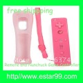 Free shipping&Latest  price-Pink-Remote and Nunchuck Game Controller+Skin For Wii