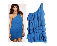 Free Shipping New Arrival  Wholesale Women's Dress Ruffle One Shoulder Chiffon Top Sexy Dresses